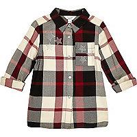 Girls black and red check star stud shirt