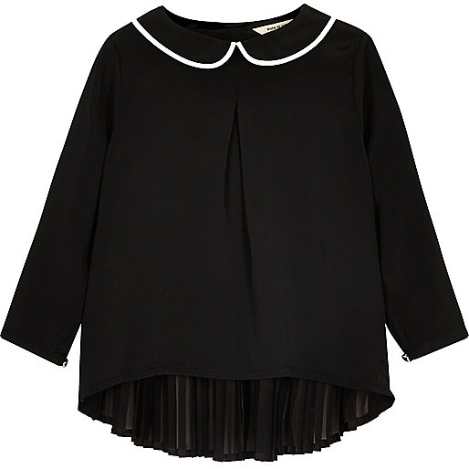 Mini girls black Peter Pan collar pleated top