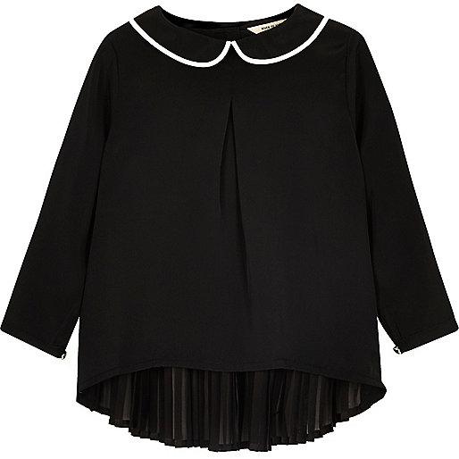 Mini girls black Peter Pan collar pleated top