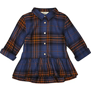 Mini girls mustard check smock top