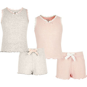 Girls pink and oatmeal pointelle pyjama set