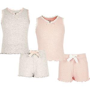 Roze en haverkleurige pyjamaset met ajour voor meisjes