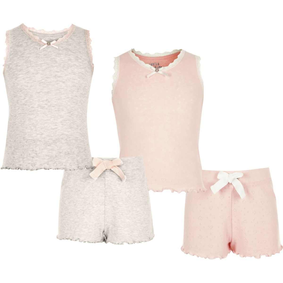 Girls pink and oatmeal pointelle pajama set