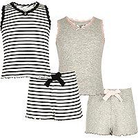 Grau gestreifter Pointelle-Pyjama