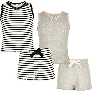 Girls grey and stripe pointelle pyjama set