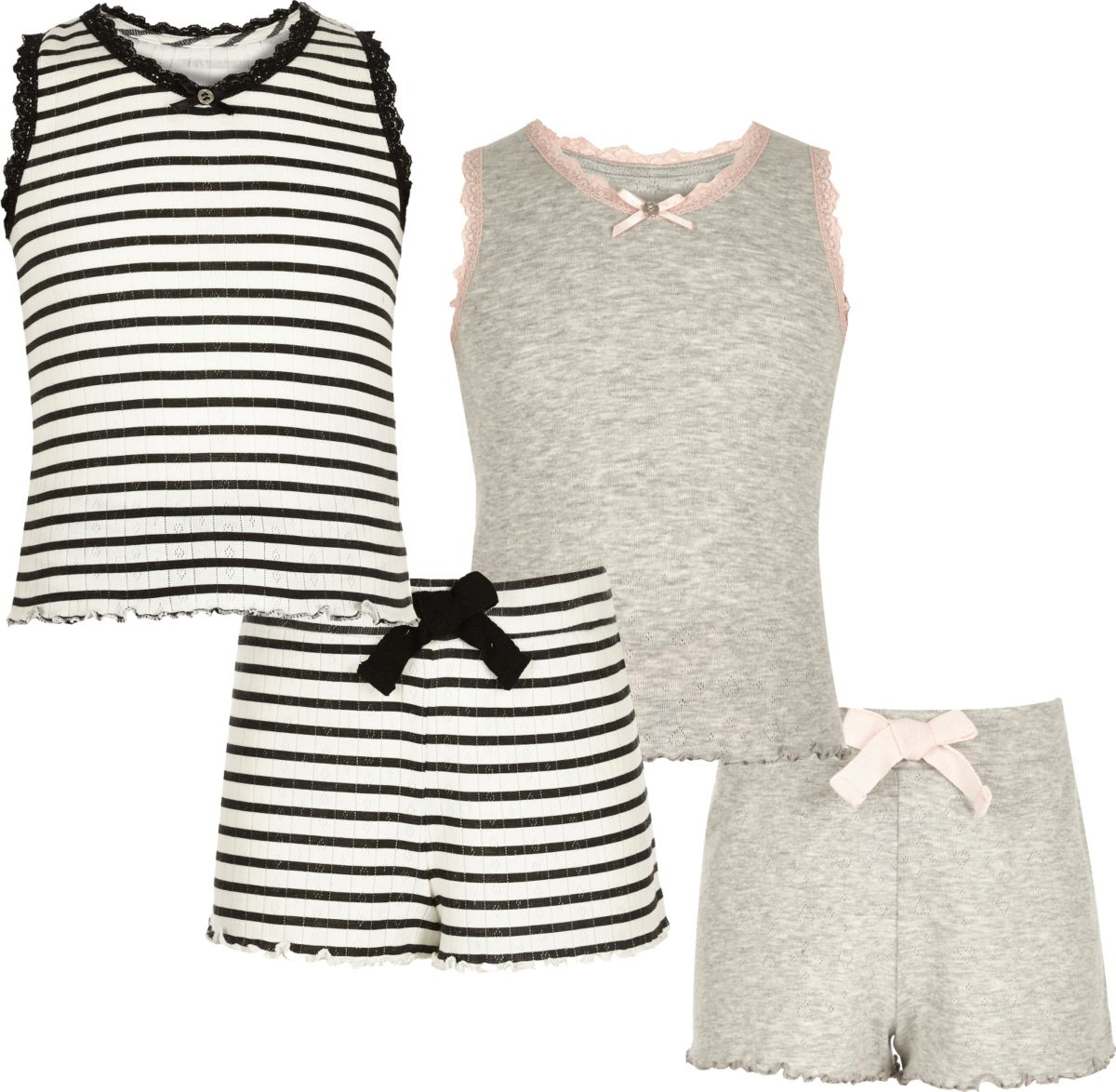 Girls grey and stripe pointelle pyjama set