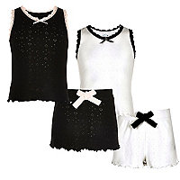 Girls black and white pointelle pyjama set