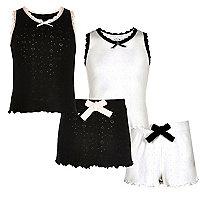 Schwarzer und weißer Pointelle-Pyjama