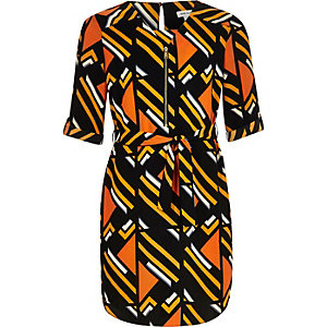 Girls orange stripe print shirt dress