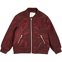 Mini girls red embroidered bomber jacket