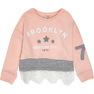 Mini girls pink lace sweatshirt