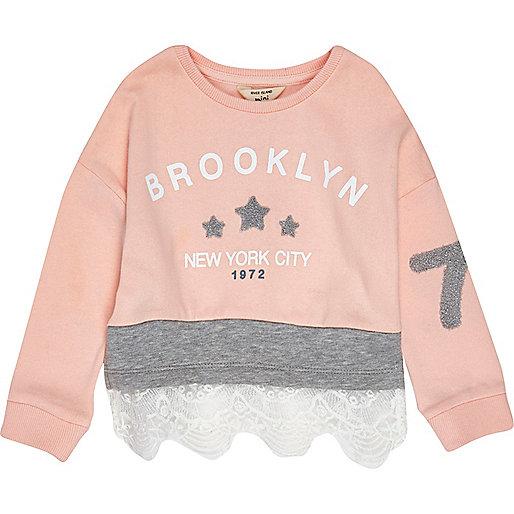 Roze sweatshirt met kant voor mini girls