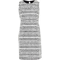 Girls black & white bonded lace dress