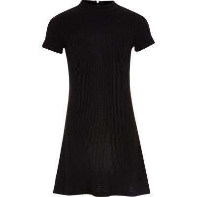 Zwarte geribbelde wijduitlopende jurk voor meisjes