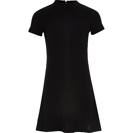 Girls black ribbed fit and flare dress