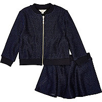 Mini girls navy bomber and skirt outfit