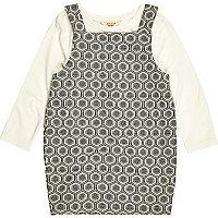 Mini girls cream print pinafore dress