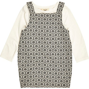 Mini girls cream print pinafore dress