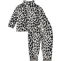 Ensemble imprimé léopard gris pour fille