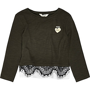Mini girls khaki lace trim top