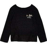 Mini girls black lace hem top