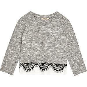 Mini girls grey marl lace trim top