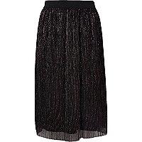 Girls black metallic plisse skirt