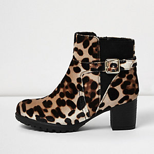Girls brown animal print ankle boots