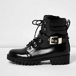 Girls black patent buckle utility boots