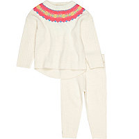 Mini girls cream fairisle sweater set