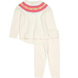 Set met crème pullover met fairisle-print voor mini girls