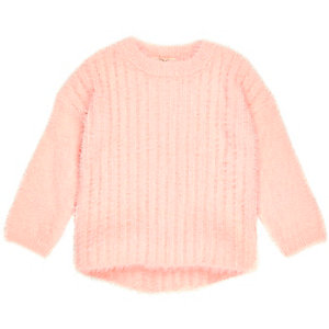 Mini girls pink fluffy knit jumper