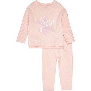Set met roze pullover met sneeuwvlokken voor mini girls
