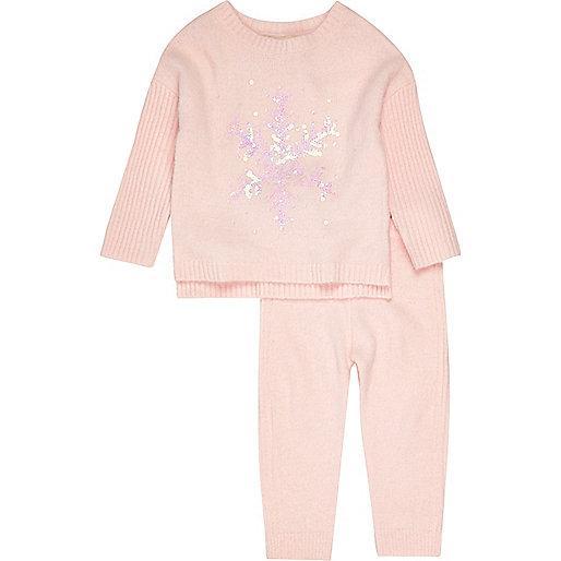 Mini girls pink snowflake jumper set