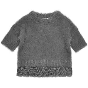 Mini girls grey eyelash knit lace hem sweater