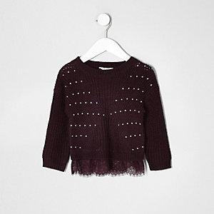 Donkerrode gebreide pullover met kant voor mini girls