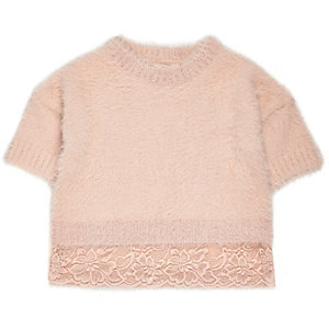 Mini girls pink eyelash knit lace hem sweater