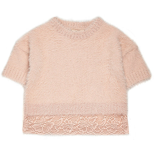 Mini girls pink eyelash knit lace hem sweater