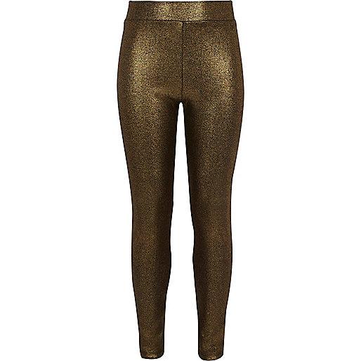 Leggings mit Metallic-Print in Gold