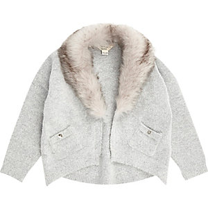 Mini girls grey knit faux fur trim cardigan