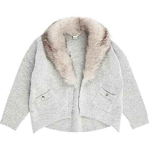 Mini girls grey knit faux fur trim cardigan
