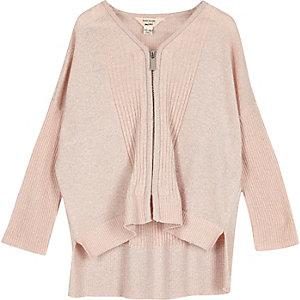 Mini girls pink knit zip cardigan
