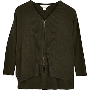 Mini girls khaki green knit zip caridgan