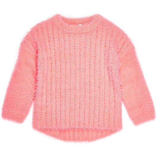 Mini girls bright coral fluffy knit sweater