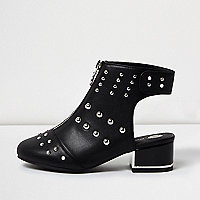 Girls black stud shoe boots