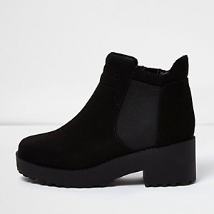 Girls black clumpy ankle boots