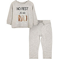Mini girls grey print pyjama set