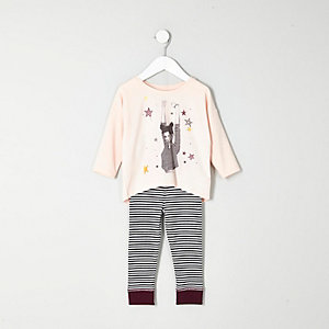 Mini girls pink top stripe leggings pajamas