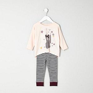 Mini girls pink top stripe leggings pajamas