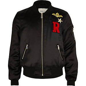 Girls black badge bomber jacket